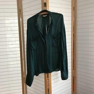 anthropologie turquoise rayon shirt